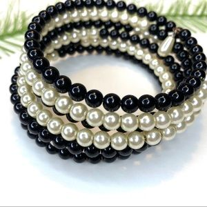 Vintage black and white cuff bracelet